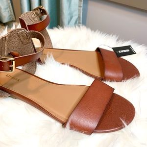 Express Cognac/Brown Flat Ankle Strap Sandals
